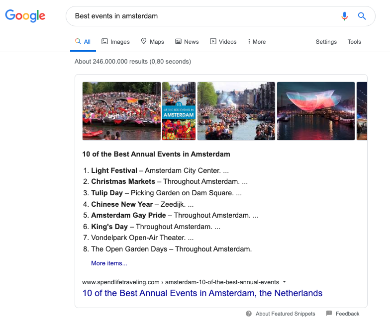 Featured Snippet amsterdam events