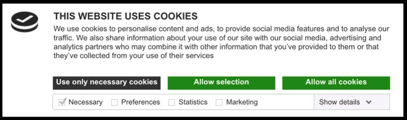 GDPR-proof cookie notification, giving the user the option to accept or decline different types of cookies