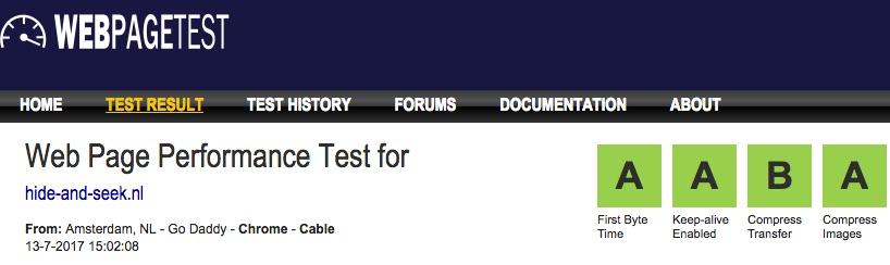 Test resultaten webpagetest.org